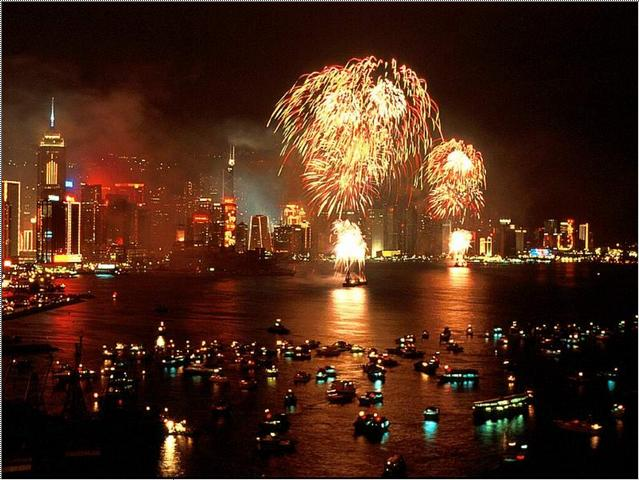 Crowded Hong Kong Victoria Harbour during Chinese New Year for the firework
