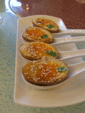 Tea hard-boiled eggs.  Very nice presentation, isn't it?