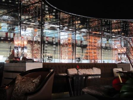 The wine racks behind the seats in the Lounge and Bar, Ritz Carlton Hong Kong