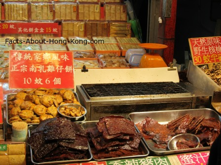 Look at the freshly made pastry and jerky in Lei Yue Mun, a Hong Kong seafood district