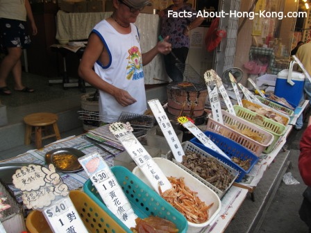 Dried seafood is very common in Hong Kong.