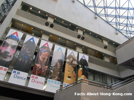 Banners of different shows available in the Hong Kong Academy for Performing Arts