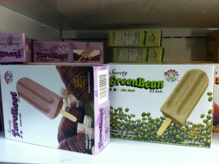 Taro Root and Green Bean flavored ice bar (a.k.a. popsicle)