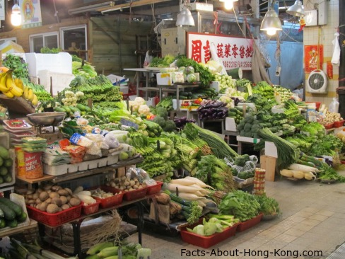 Fresh produce in the wet market.