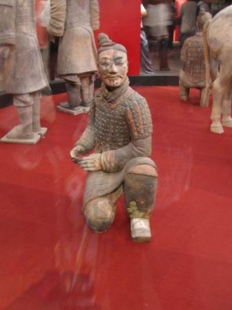 This is one of the terra cotta statues which still preserved a little bit of color that you can imagine how they looked like before oxidation.