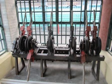 The semaphore signaling levers used in the old train station for control the traffic
