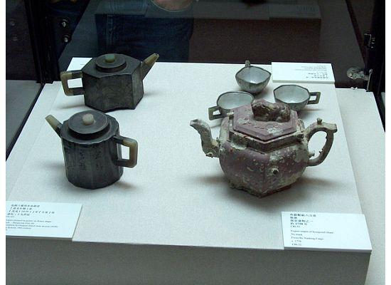 Ancient tea pots showcasing in the Hong Kong Museum of Tea Ware