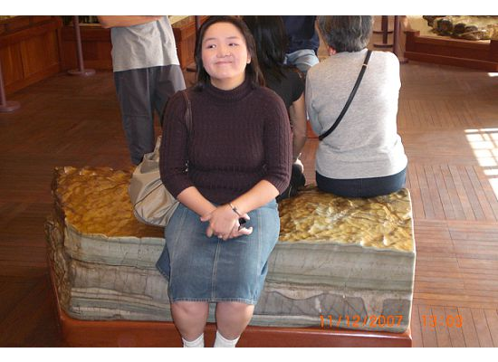 That's me (Janny) sitting on the rock in the exhibition hall