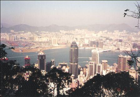 Hong Kong Skyline - Lookout from the Peak, Zoom out of the Kowloon Coastal Line