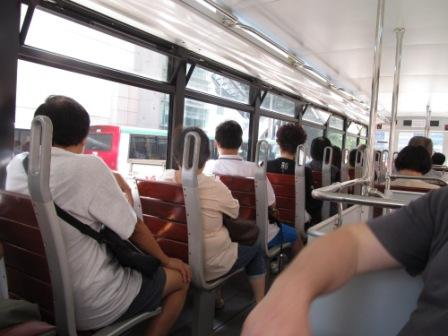 The seats of the new Hong Kong tram on the upper deck