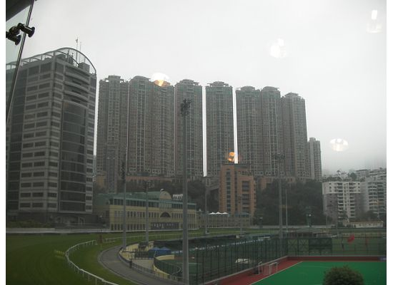View of the Horse Racing Court from the upper deck of the tram