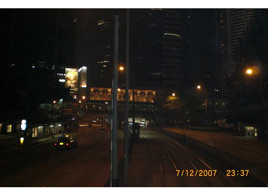 Hong Kong tram station in front of Pacific Place, Admiralty,