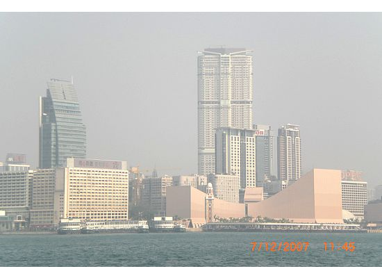 Skyline of Tsim Sha Tsui, Kowloon Peninsula viewing from Hong Kong Star Ferry