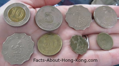 The back of Hong Kong dollar coins