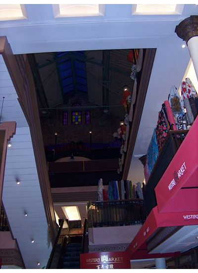 Instead of stall, there are many cloth stores. No more staircase, but escalators