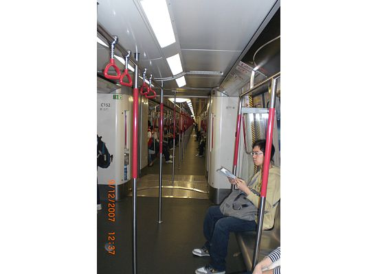 Inside of the Hong Kong MTR train.