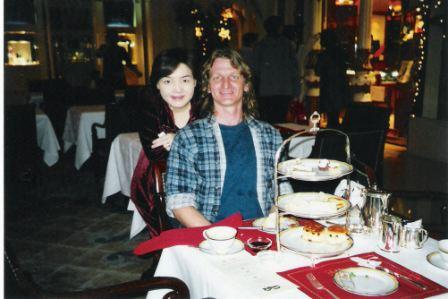 With the help of the staff, We took this picture on X'mas in 2000 (3 days after getting engaged). Look at the top of the line quality of silverware