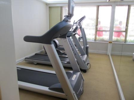 A corner of the gym.  There are 2 more machines and 2 weight-lifting systems
