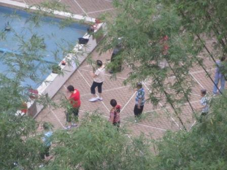 We could see the garden of the private housing estate from our room.  People were doing Tai Chi in the morning.