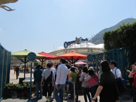 Lining up to get into the Ocean Park Hong Kong