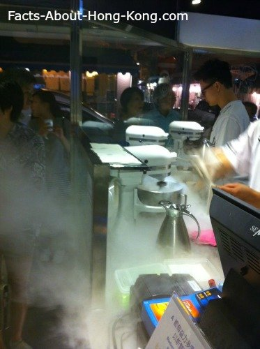 People lining up to try out the liquid nitrogen ice-cream
