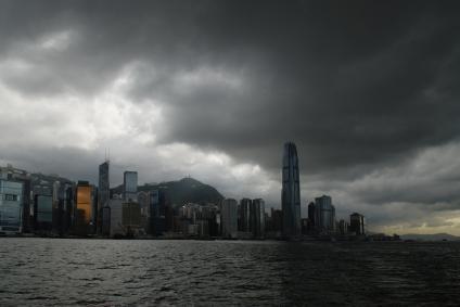 Hong Kong Skyline before a typhoon