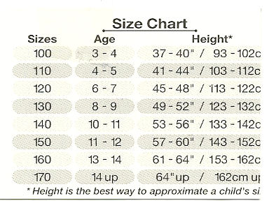 Hong Kong Shopping for Kids' Clothes Size Char