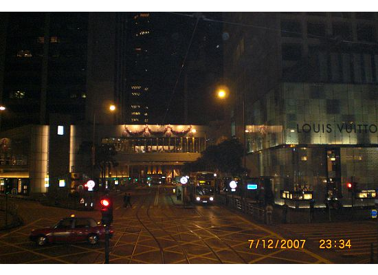 Central, Capital of Hong Kong, at night. The building on the right hand side is the Landmark Mall
