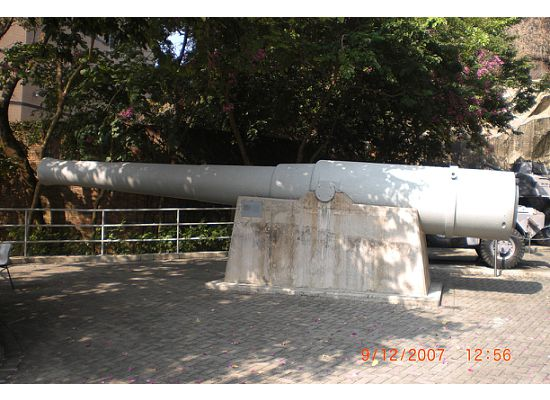 Cannon at the entrance next to the tanks