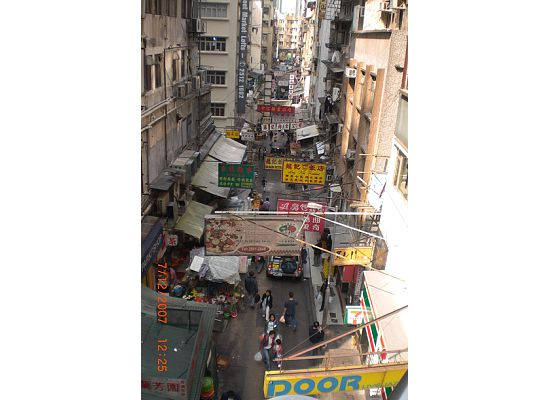 Typical Hong Kong street view by looking down from the outdoor escalator.