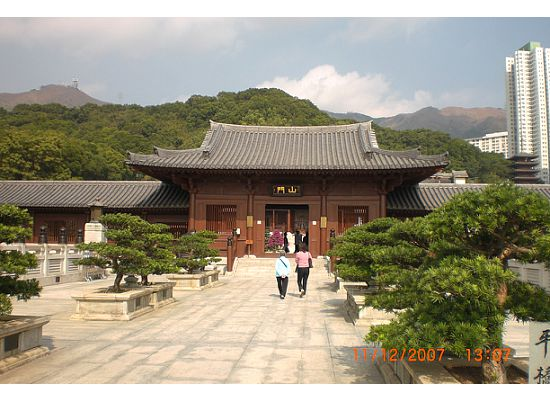 Entrance of the Hong Kong Chi Lin Nunnery. The path we were walking on connected to the Nan Lian Garden