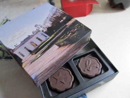 Agnes B Moon Cakes.  Instead of the soft-pastry cover, it is chocolate covered.