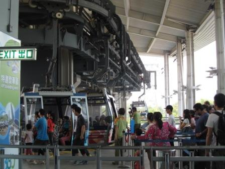 Waiting for our turn to get on the cable car in Ngong Ping 360