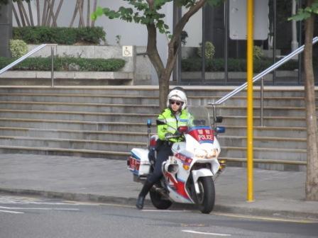 Hong Kong Police on motorcycle
