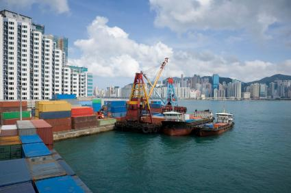 Hong Kong container terminal, one of the busiest in the world.